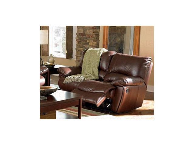 Double Reclining Love Seat in Brown Leather by Coaster Furniture
