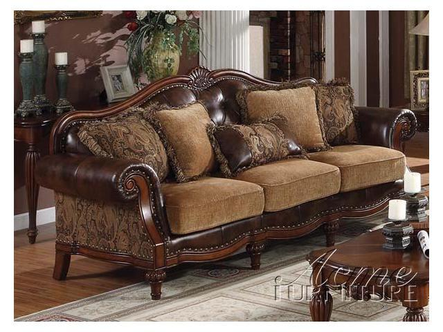 Traditional Chenille Bycast PU Leather Sofa by Acme Furniture