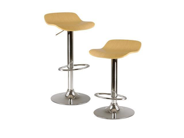 Kallie Set Of 2 Air Lift Adjustable Stool, Cappuccino Color Wood Veneer Top And Metal Base By Winsome Wood