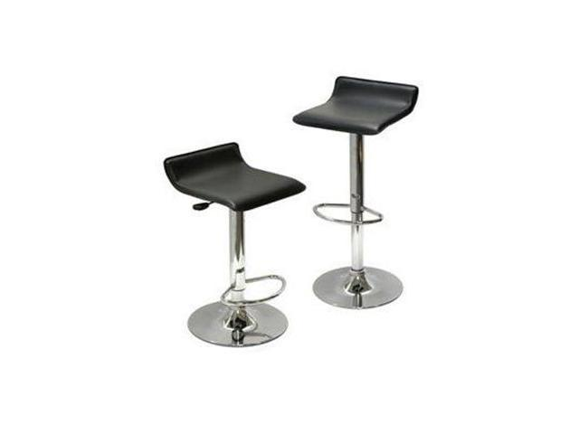 Spectrum Set Of 2, Adjustable Air Lift Stool, Black Faux Leather, Rta By Winsome Wood