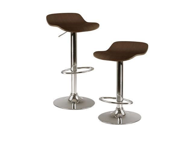 Kallie Set Of 2 Air Lift Adjustable Stool, Natural Wood Veneer Top And Metal Base By Winsome Wood