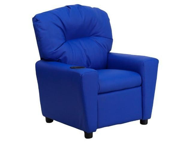 Flash Furniture Contemporary Blue Vinyl Kids Recliner with Cup Holder [BT-7950-KID-BLUE-GG]