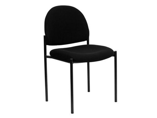 Flash Furniture Black Fabric Comfortable Stackable Steel Side Chair [BT-515-1-BK-GG]