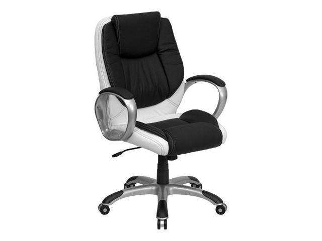 Flash Furniture Mid-Back Black and White Leather Executive Swivel Office Chair [CH-CX0217M-GG]