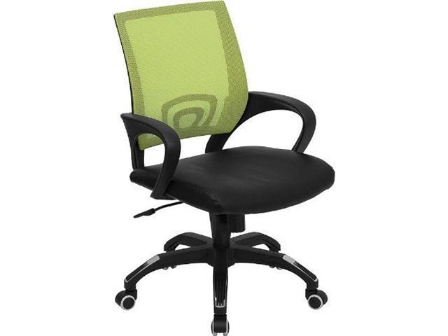 Flash Furniture Mid-Back Green Mesh Computer Chair with Black Leather Seat [CP-B176A01-GREEN-GG]