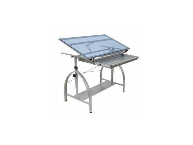 Avanta Drafting Table (Silver/Blue Glass)  by Studio Designs