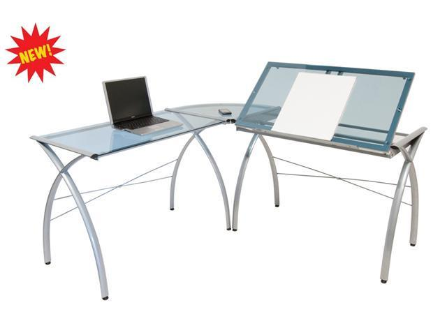 Futura LS WorkCenter with Tilt in Silver with Blue Glass by Studio Designs