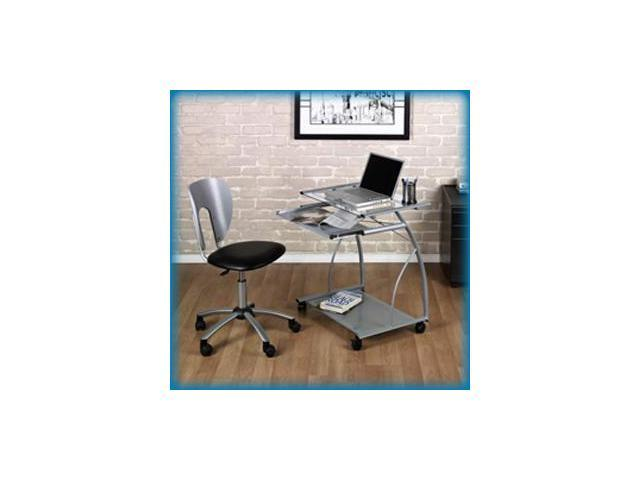 L-Cart Computer Table in Silver with Clear Glass by Studio Designs