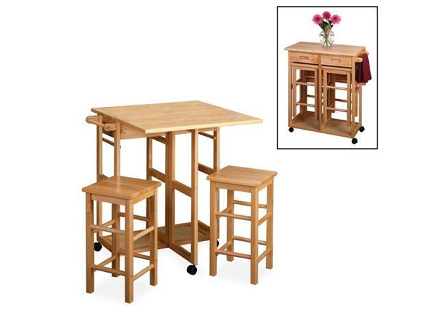 Space Saver, Drop Leaf Table With 2 Square Stools By Winsome Wood