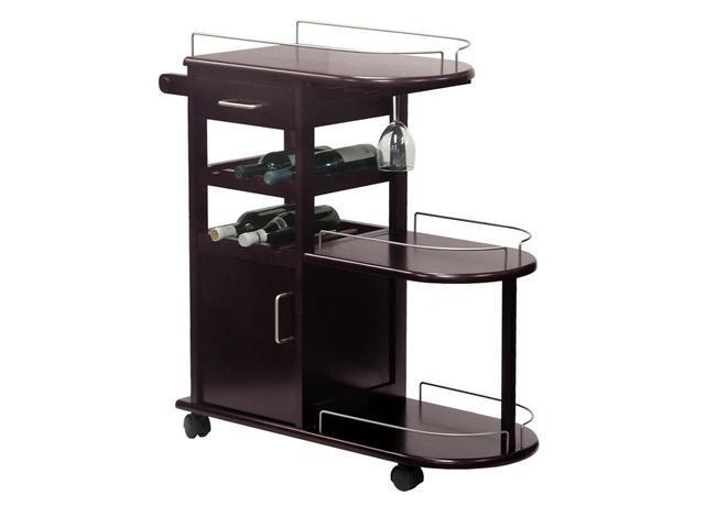 Espresso Entertainment Cart Glass Rack Cabinet Drawer