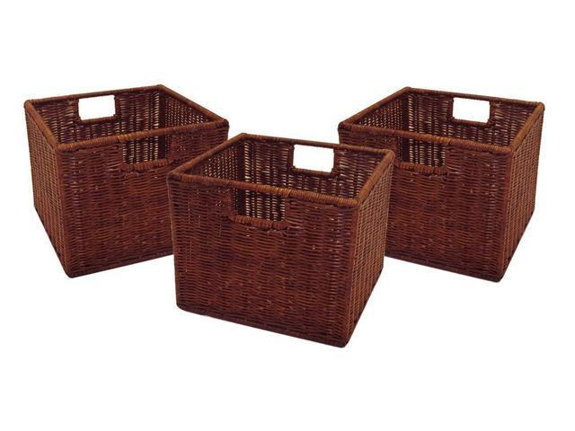 Winsome Leo Set of 3 Wired Baskets, Small in Antique Walnut - 92310