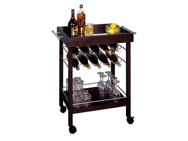 Espresso Bar Cart Mirror Top Wine Rack