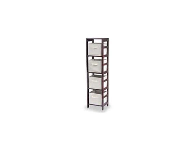 Winsome Capri(4N) Espresso Shelf & 4 Foldable Beige Fabric Baskets - 92841