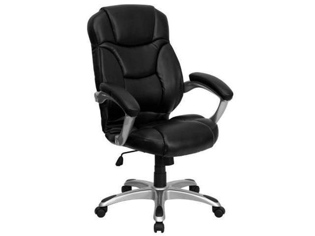 Flash Furniture High Back Black Leather Contemporary Office Chair [GO-725-BK-LEA-GG]