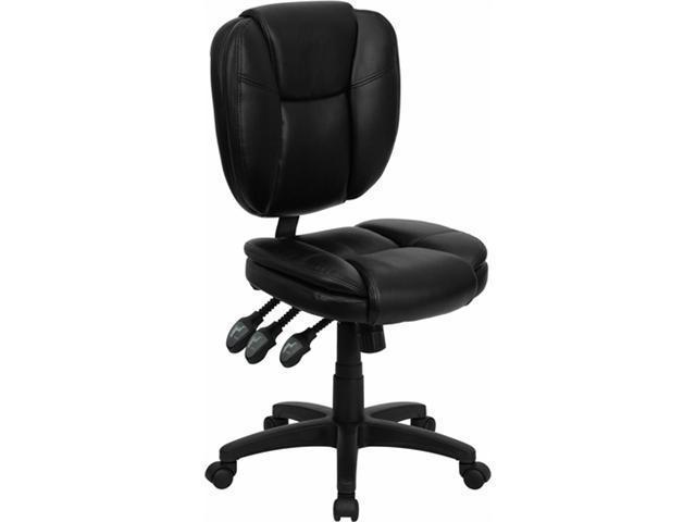 Flash Furniture Mid-Back Black Leather Multi-Functional Ergonomic Task Chair [GO-930F-BK-LEA-GG]