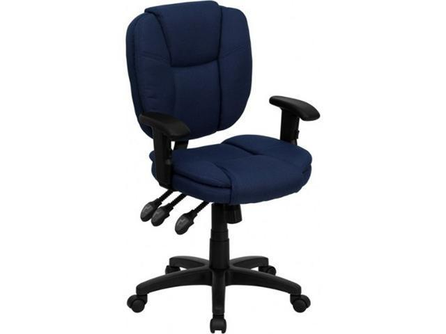 Flash Furniture Mid-Back Navy Blue Fabric Multi-Functional Ergonomic Task Chair with Arms [GO-930F-NVY-ARMS-GG]