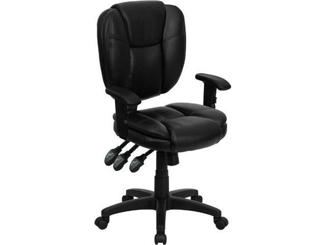 Flash Furniture Mid-Back Black Fabric Multi-Functional Ergonomic Task Chair with Arms [GO-930F-BK-ARMS-GG]