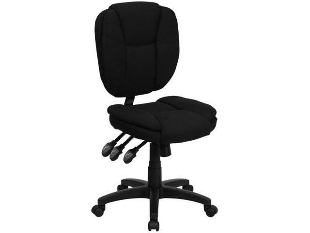 Flash Furniture Mid-Back Black Fabric Multi-Functional Ergonomic Task Chair [GO-930F-BK-GG]