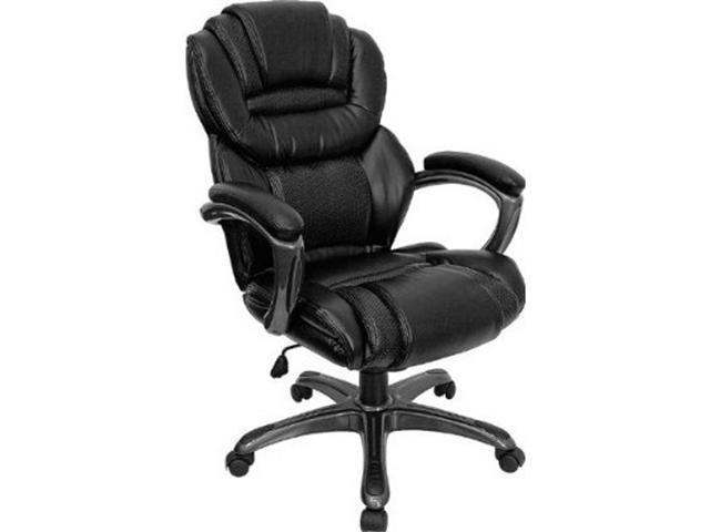 Flash Furniture GO-901-BK-GG High Back Leather Executive Office Chair with Leather Padded Loop Arms - Black
