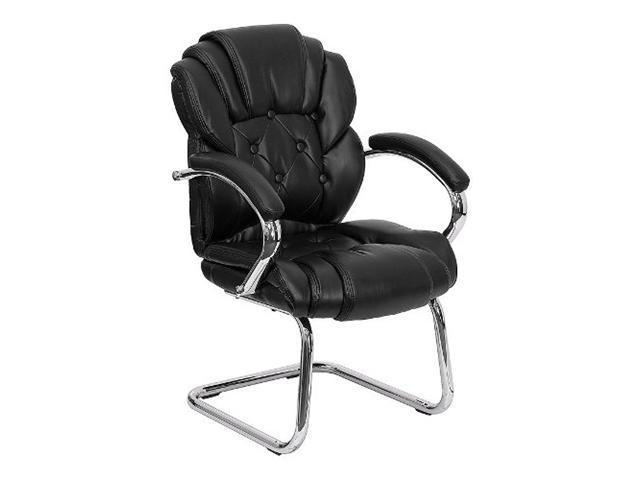Flash Furniture Black Leather Transitional Side Chair with Padded Arms and Sled Base [GO-908V-BK-SIDE-GG]
