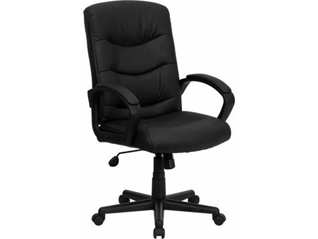 Flash Furniture Mid-Back Black Leather Office Chair [GO-977-1-BK-LEA-GG]
