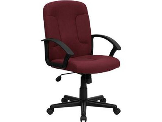 Flash Furniture Mid-Back Burgundy Fabric Task and Computer Chair with Nylon Arms [GO-ST-6-BY-GG]