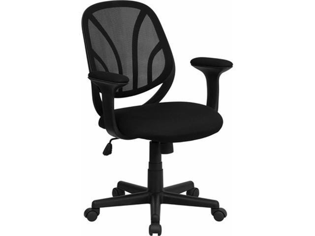 Flash Furniture Y-GO Chair™ Mid-Back Black Mesh Computer Task Chair with Arms [GO-WY-05-A-GG]