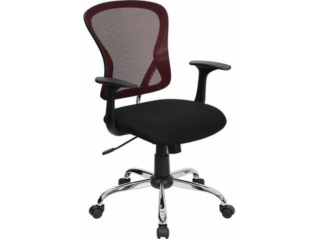 Flash Furniture Mid-Back Burgundy Mesh Office Chair with Black Fabric Seat and Chrome Finished Base [H-8369F-BG-GG]