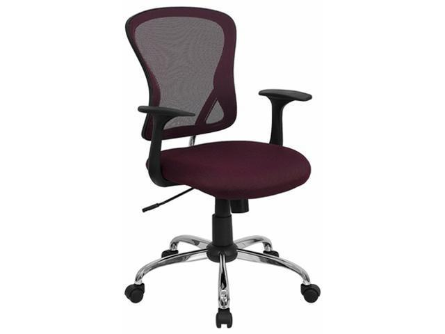 Flash Furniture Mid-Back Burgundy Mesh Office Chair with Chrome Finished Base [H-8369F-ALL-BY-GG]