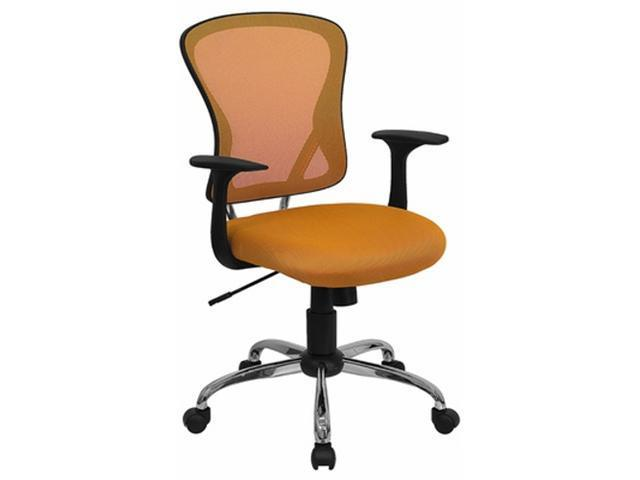 Flash Furniture Mid-Back Orange Mesh Office Chair with Chrome Finished Base [H-8369F-ORG-GG]