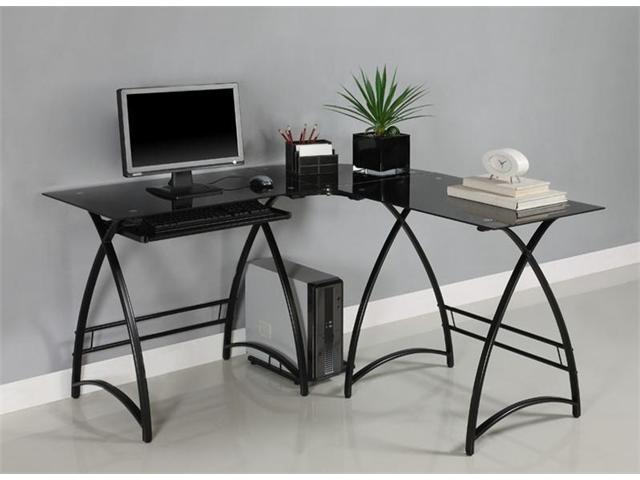 L-Shaped Glass Computer Desk - Black/Black by Walker Edison