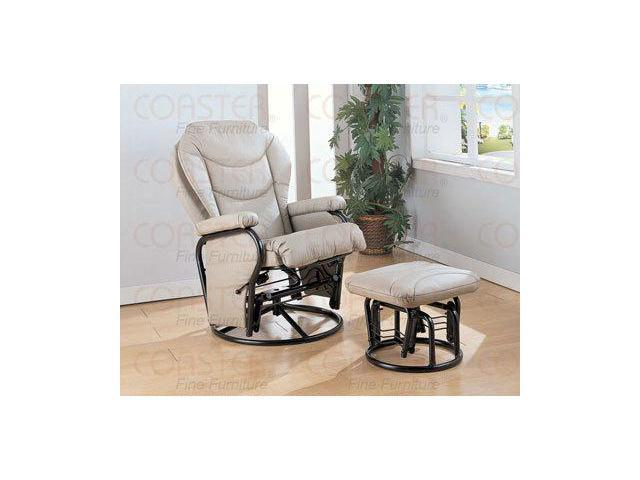 Bone Leatherette Cushion Swivel Glider Rocker with Ottoman by Coaster Furniture