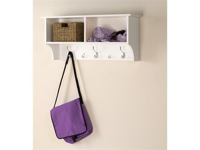 "White Finish 36"" Wide Hanging Entryway Shelf"