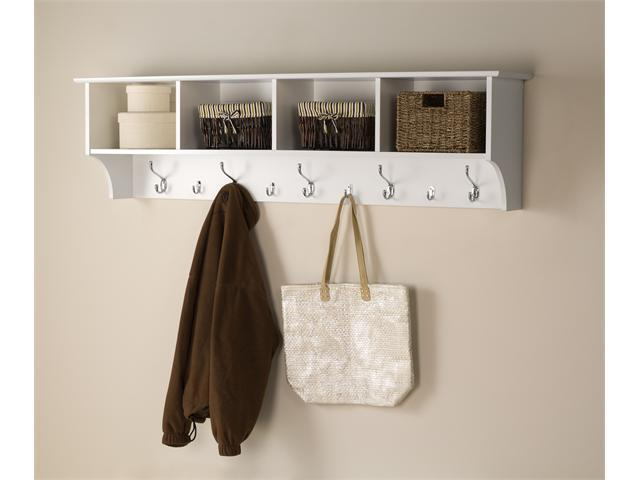 "White 60"" Wide Hanging Entryway Shelf"