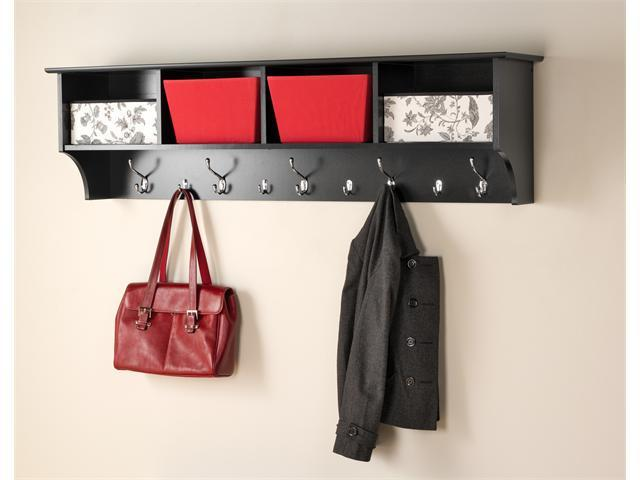 "Black 60"" Wide Hanging Entryway Shelf"