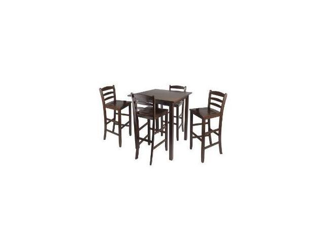 Parkland High table with 4 Ladder Back Stools (Antique Walnut) by Winsome Wood