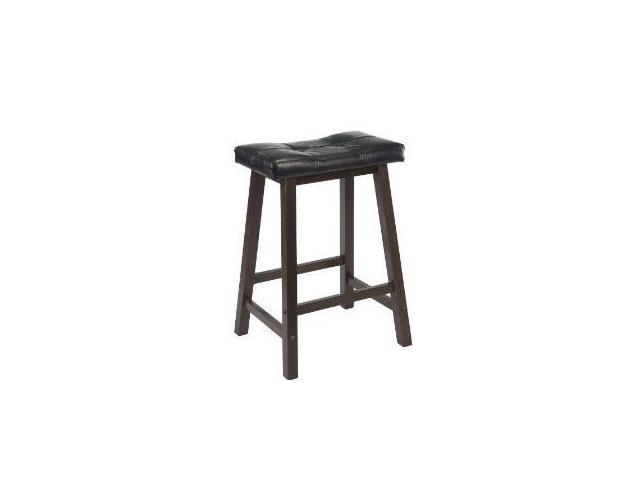 Black Cushion Counter Stool (Walnut) by Winsome Wood