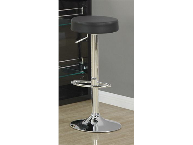 Black / Chrome Metal Hydraulic Lift Barstool / 2Pcs by Monarch