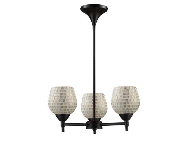 Celina 3-Light Chandelier In Dark Rust And Silver Glass