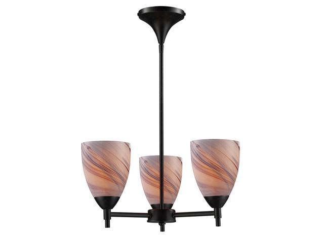 Celina 3-Light Chandelier In Dark Rust And Creme Glass