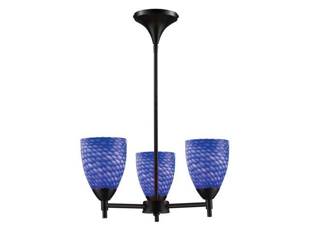 Celina 3-Light Chandelier In Dark Rust And Sapphire Glass