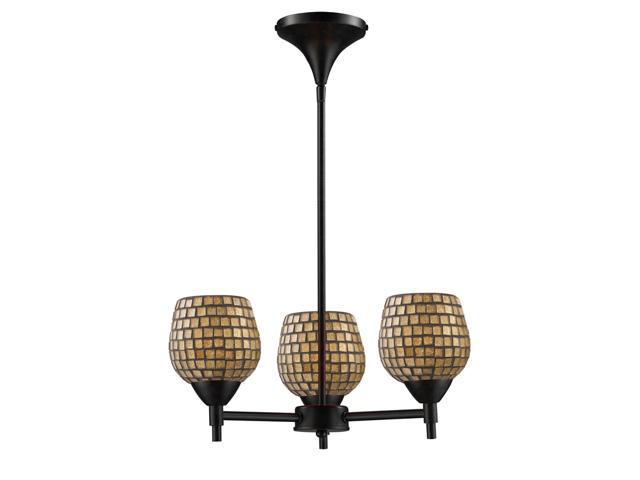 Celina 3-Light Chandelier In Dark Rust And Gold Leaf Glass