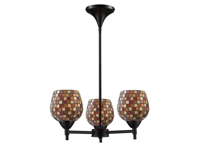 Celina 3-Light Chandelier In Dark Rust And Multi Fusion Glass