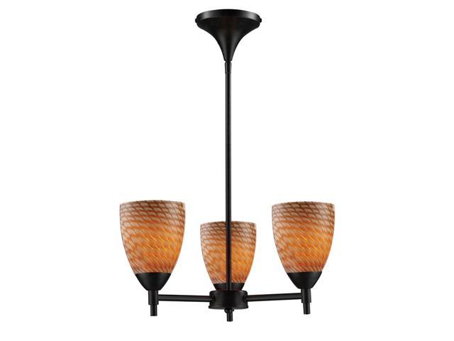 Celina 3-Light Chandelier In Dark Rust And Coco Glass