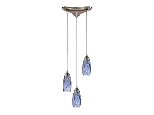 3 Light Pendant In Satin Nickel And Starlight Blue Glass