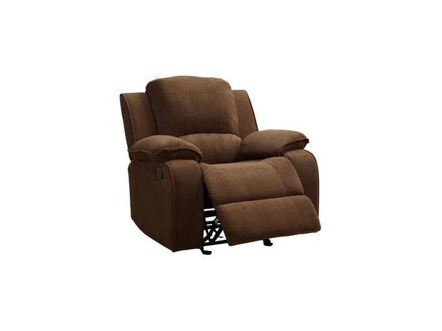 Microfiber Reclining Chair in Brown by Homelegance