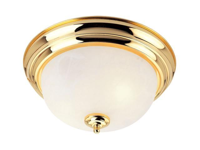 North Port Collection Ceiling Mount Fixture with White Alabaster Glass in Polished Brass by Livex