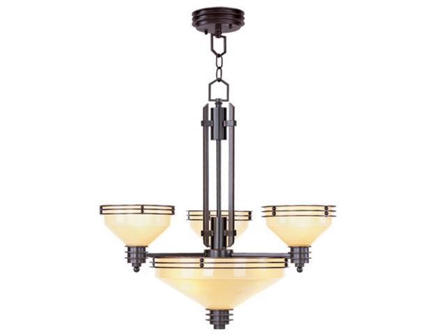 Matrix Collection Chandelier Fixture with Iced Champagne Glass in Olde Bronze by Livex