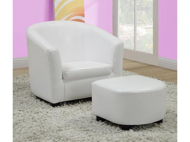White Leather-Look Juvenile Chair / Ottoman 2Pcs Set