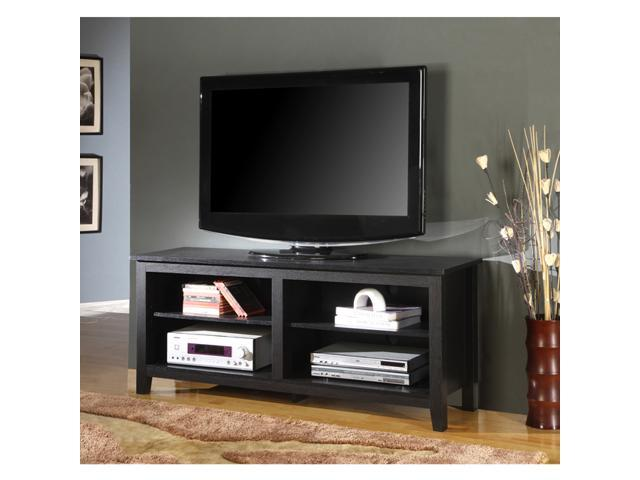 58 in. Wood TV Console In Black Finish By Walker Edison